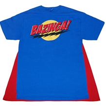 Big Bang Theory Blue Bazinga Caped T-Shirt