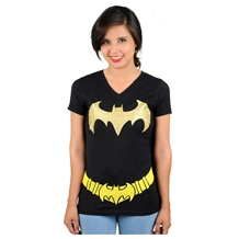 Batgirl Cape Costume V-Neck T-Shirt