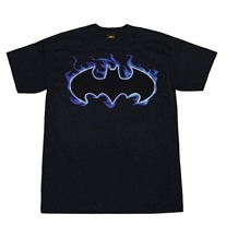 Batman Flaming Logo Adult T-Shirt