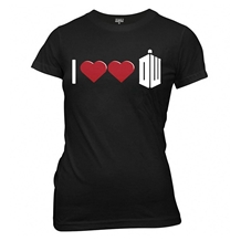 Doctor Who Double Heart Ladies Junior T-Shirt