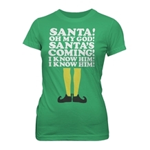 Elf Santa's Coming! Junior Ladies T-Shirt