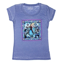 Frozen Anna and Elsa Stained Glass Sheer Burnout Junior T-Shirt