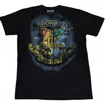 Harry Potter Hogwarts Crest Distressed T-Shirt