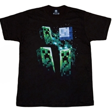 Minecraft Three Creeper Moon Slim Fit Adult T-Shirt