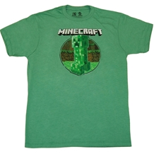 Minecraft Retro Creeper Slim Fit Adult T-Shirt