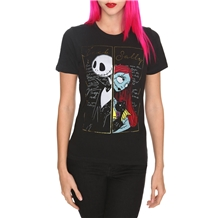 Nightmare Before Christmas Jack and Sally Now Forever Junior Womans T-Shirt