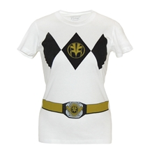 Power Rangers White Ranger Costume Junior Women's T-Shirt