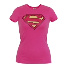 Supergirl Symbol Junior Ladies Pink T-Shirt