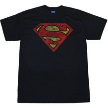 Superman Distressed Logo Black T-Shirt