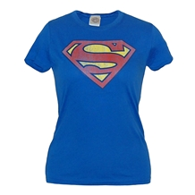 Superman Distressed Logo Junior Ladies T-Shirt