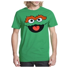 Sesame Street Oscar The Grouch Face Adult T-Shirt