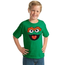 Sesame Street Oscar The Grouch Face Youth Kids T-Shirt