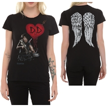 Walking Dead Daryl Crossbow Heart Wings Girls T-Shirt