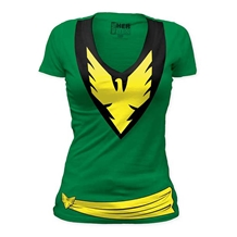 X-Men Phoenix Costume Junior Ladies V-Neck Shirt