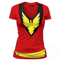 X-Men Dark Phoenix Costume Junior Ladies V-Neck T-Shirt