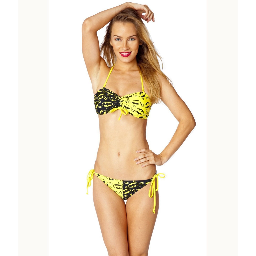 Batgirl Bandeau Black and Yellow String Bikini Set