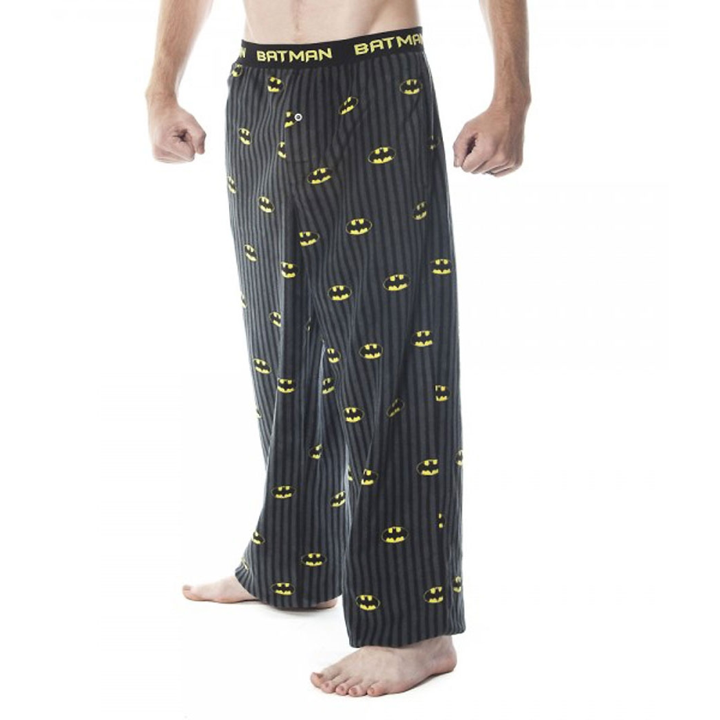 Batman Stripe Logo Fleece Pajama Lounge Pants