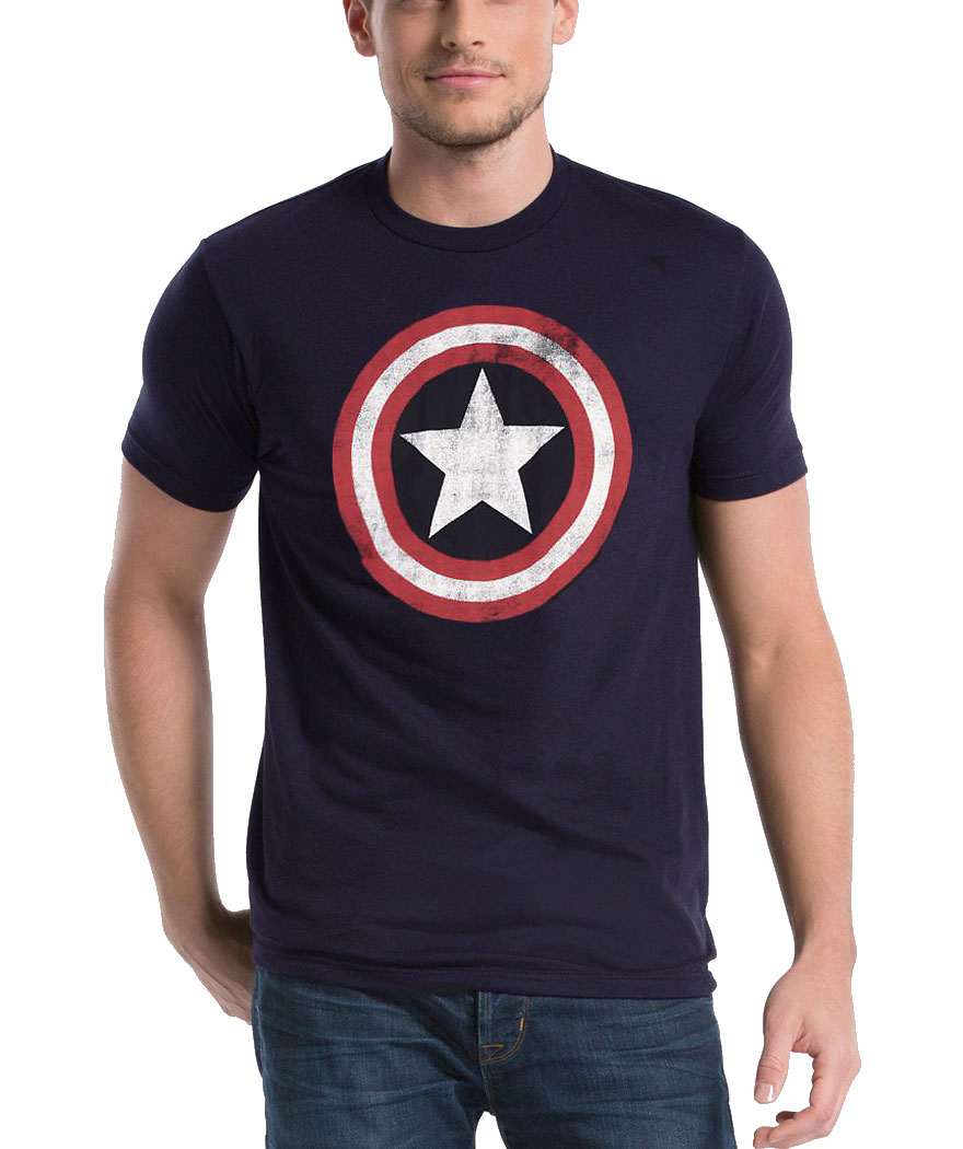 Captain America Distressed Shield T-Shirt