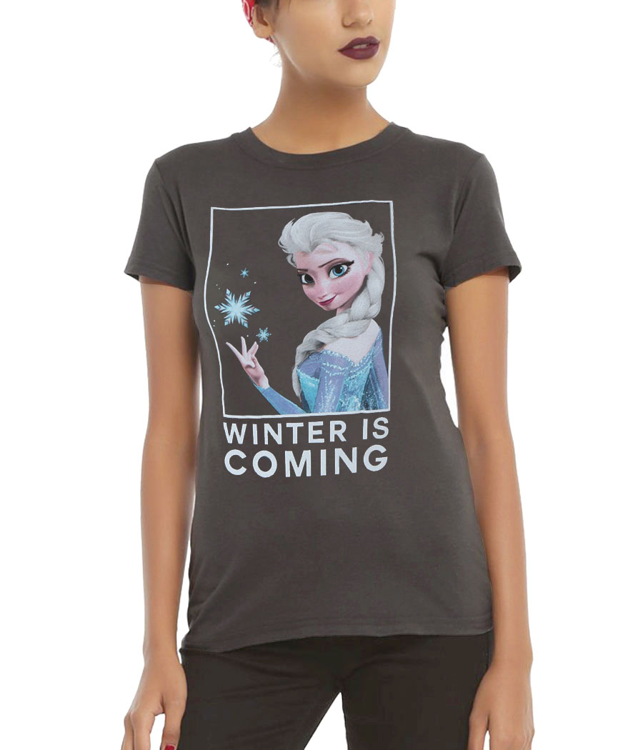 Frozen Elsa Winter is Coming Junior Women's T-Shirt