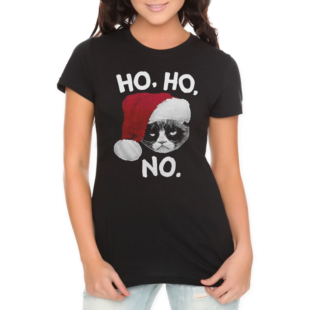 Grumpy Cat Ho Ho No Junior Women's T-Shirt