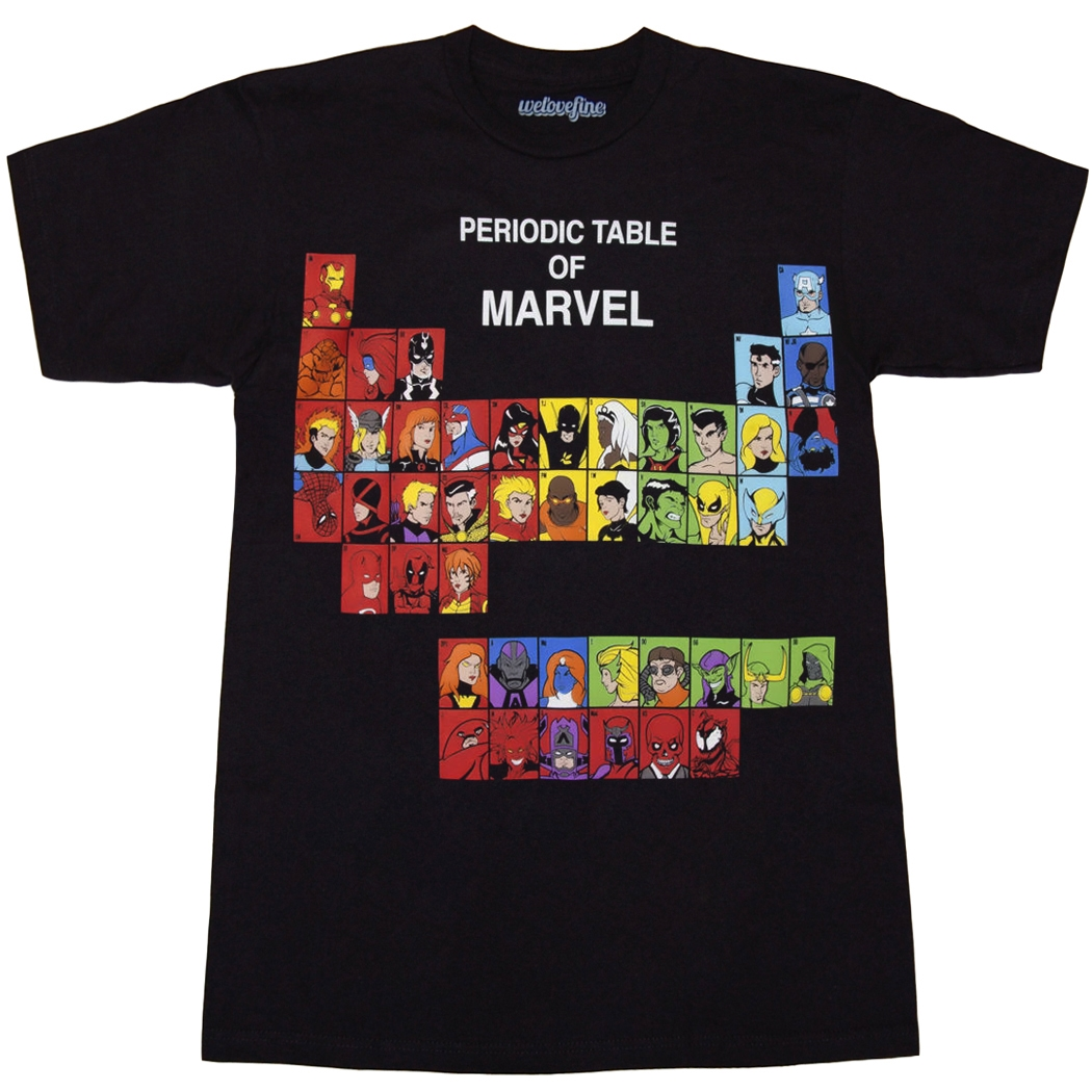 Marvel comics shirts marvel periodic table t shirt by animation shops urtaz Image collections