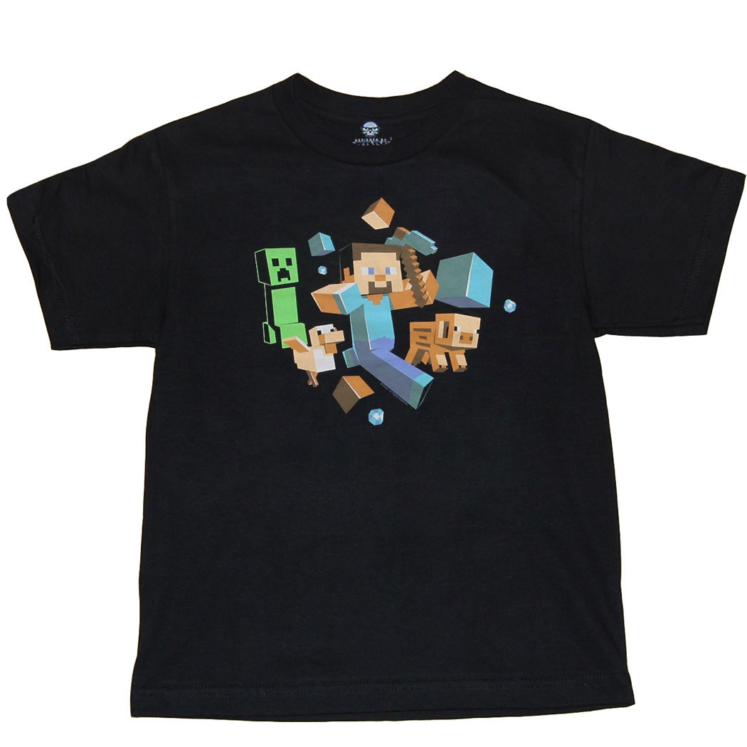 Minecraft Run Away Steve Youth Kids T-Shirt