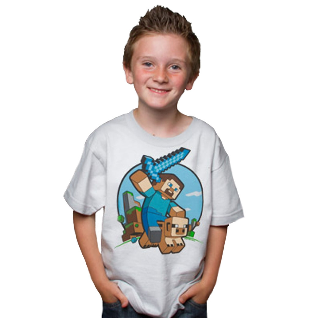 Minecraft Pig Riding Youth Kids T-Shirt