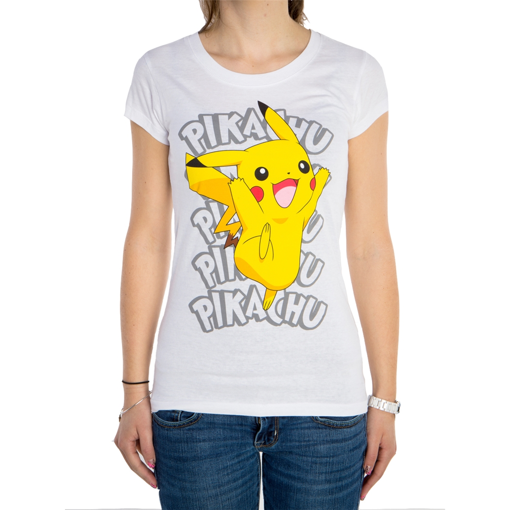 Pokemon Pikachu Name Repeat Junior Ladies T-Shirt