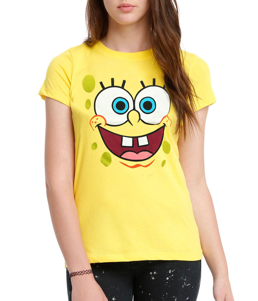 Spongebob Face Junior Women's T-Shirt