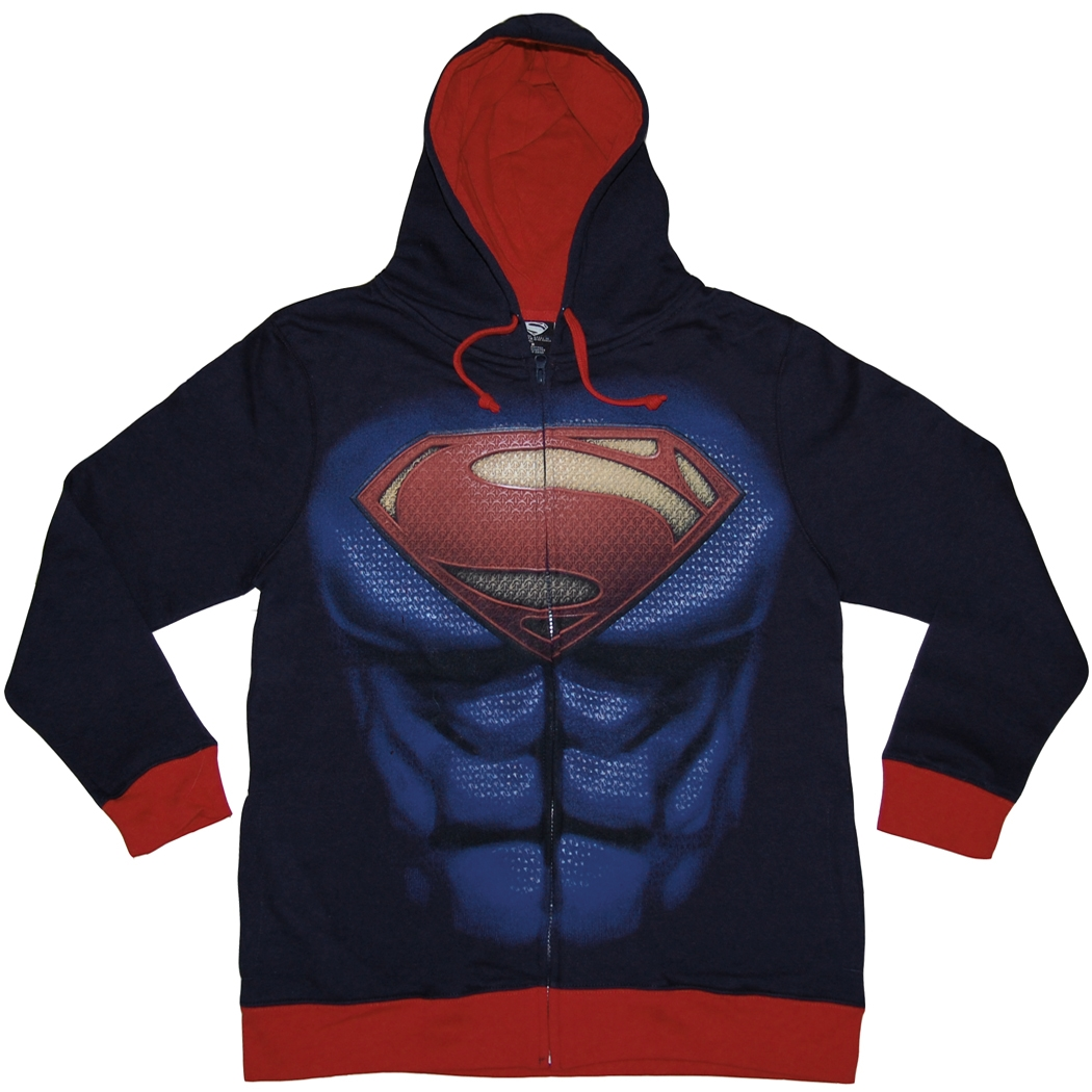 Superman Man of Steel Costume Zip Front Hoodie