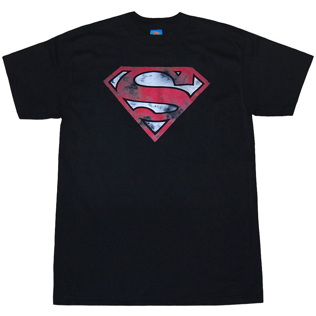 Superman War Torn Shield Adult T-Shirt