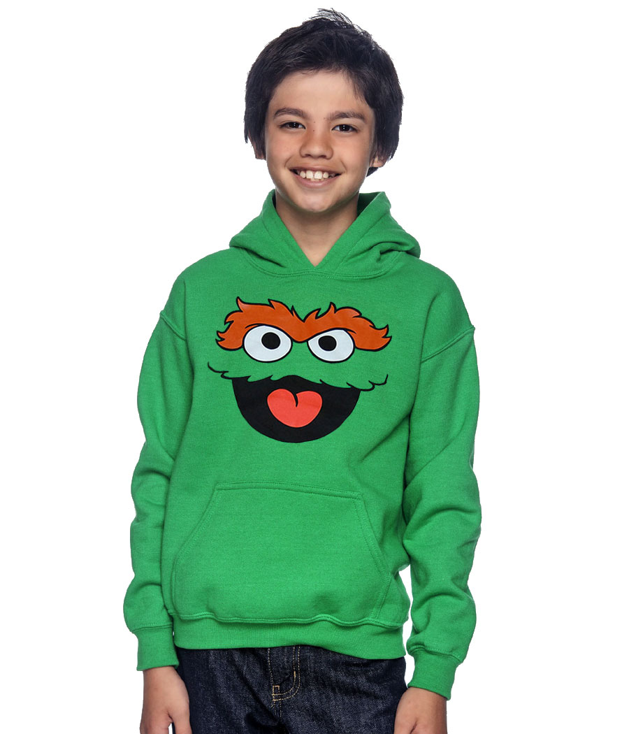 Sesame Street Oscar The Grouch Face Youth Hoodie