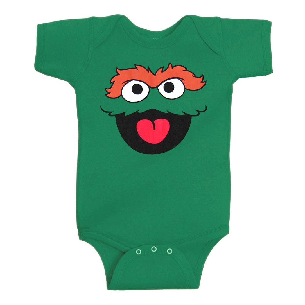 Oscar The Grouch Face Infant Onesie Romper
