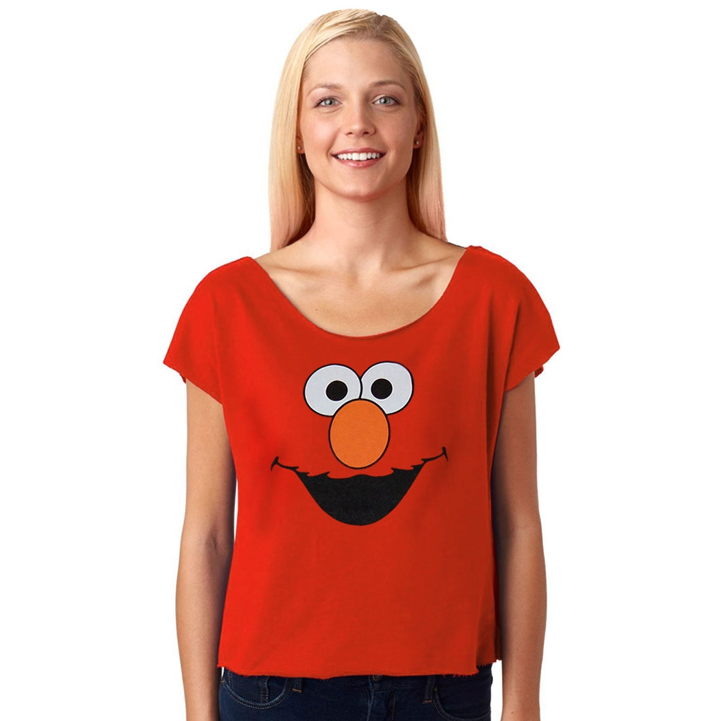 Sesame Street Elmo Face Dolman Terry Ladies Shirt