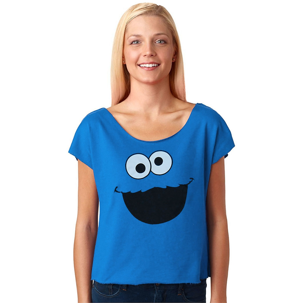 Sesame Street Cookie Monster Face Dolman Terry Ladies Shirt