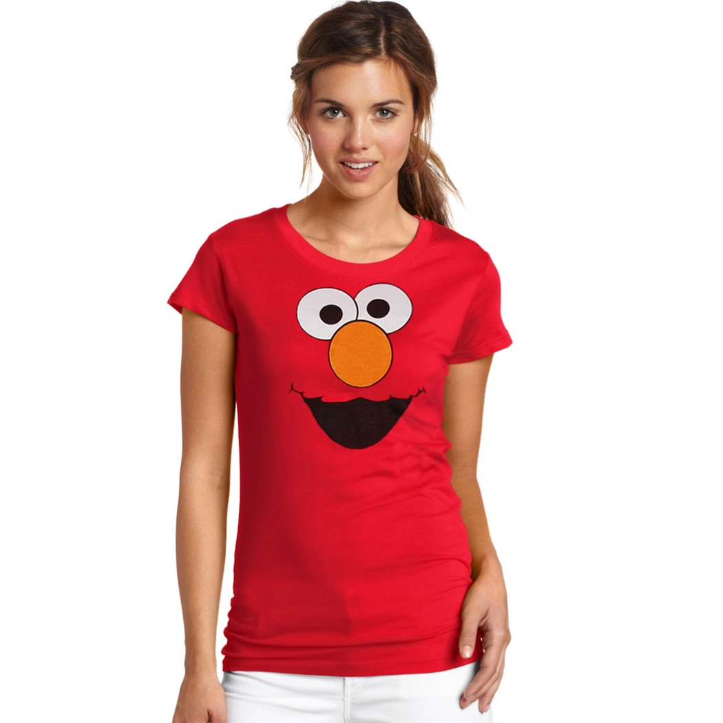 Sesame Street Elmo Silly Face Junior Ladies T-Shirt