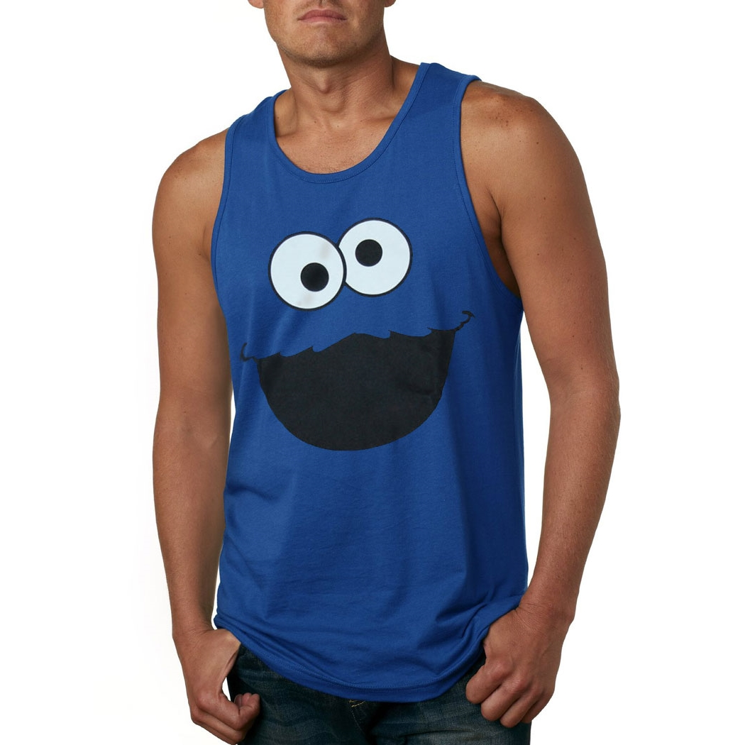 Cookie Monster Face Adult Tank Top