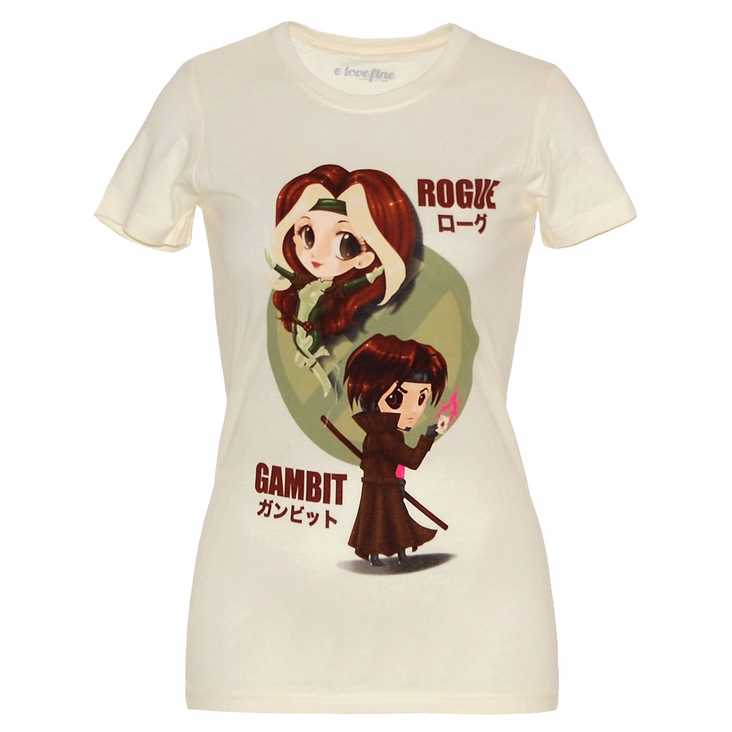 Kawaii Rogue and Gambit Junior T-Shirt