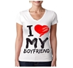 I Love My Boyfriend Junior Women's V-Neck Shirt
