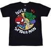 Marvel Kawaii Hulk vs Spider-man T-Shirt