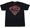 Superman Flaming Logo Adult T-Shirt