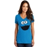 Cookie Monster Face V-Neck Junior Ladies T-Shirt