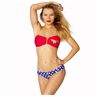 Wonder Woman Zipper Bandeau Low Rise Bikini Set